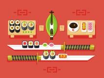 Japansk kokkonst, sushi royaltyfri illustrationer