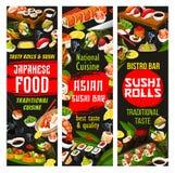 Japansk kokkonst, sushi och rullar med sås stock illustrationer