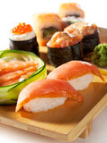 Japansk kokkonst - SushiSet Royaltyfri Fotografi
