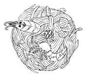 Japansk kokkonst - udonnudlar med skaldjur vektor illustrationer