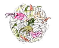 Japansk kokkonst - udonnudlar med skaldjur stock illustrationer