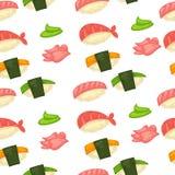 Japansk kokkonstsushi och rullar som göras av löneförhöjning vektor illustrationer