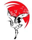 Japansk kran mot röd solvektor Arkivfoton