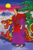 Japansk krigare, samuraj Arkivbild