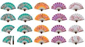 Japansk körsbärsröd fanuppsättning Royaltyfria Foton