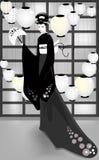 Japansk kvinna i orientaliskt hus Royaltyfri Fotografi