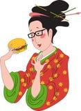 Japansk kvinna som beundrar en hamburgare Royaltyfri Foto