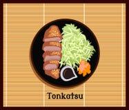 Japansk lägenhet för matTonkatsu design royaltyfri illustrationer