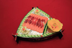Japansk laxmaträtt Royaltyfri Bild