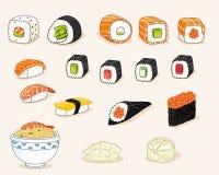 Japansk mat Vektor Illustrationer