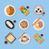 Japansk mat Läcker disk från traditionell kokkonst för Japan land Illustrationer av östliga mål för asiatiska länder från över stock illustrationer