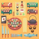 Japansk mat- och kokkonstillustration Plana beståndsdelar för vektormatlagningdesign Royaltyfri Bild