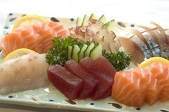 Japansk mat, Sashimi, meny Royaltyfri Fotografi