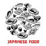 Japansk mataffisch och vektorsushi och rullar vektor illustrationer