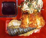 Japansk mataskuppsättning, takoyaki som överträffas med majonnäs, och alger Fotografering för Bildbyråer
