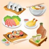 Japansk matuppsättning stock illustrationer