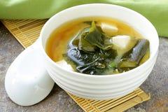 Japansk misosoppa med tofuen Arkivbild