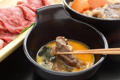 Japansk nötköttkruka Sukiyaki royaltyfri bild