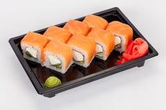 Japansk nationell populär kokkonst Sushi, ris och fisk Smakligt tjänade som beautifully mat i en restaurang, kafé royaltyfri bild