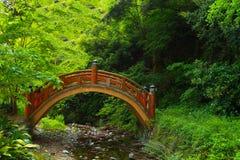 Japansk naturplats med bron Arkivbild