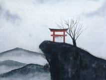 Japansk port för vattenfärglandskap på berget och den döda trädräkningsdimman arkivbild