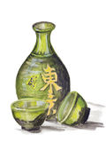 Japansk ricewine - Sake stock illustrationer