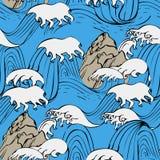 Japansk sömlös vågmodell i havet vektor illustrationer