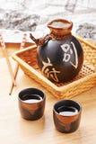 japansk sakeset royaltyfri fotografi