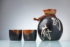 japansk sakeset royaltyfri foto