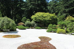 Japansk sandträdgård Arkivbild