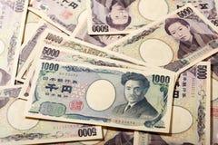 Japansk sedelyen 10000 yen, 1000 yen och 5000 Royaltyfria Bilder