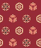 Japansk sexhörningsblomma Art Seamless Pattern vektor illustrationer