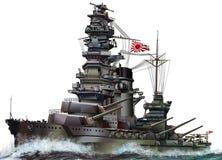 Japansk slagskepp stock illustrationer