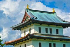 Japansk slott, Matsumae, Hokkaido Arkivbild