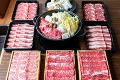 Japansk Sukiyaki upps?ttning fotografering för bildbyråer