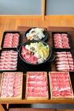 Japansk Sukiyaki upps?ttning royaltyfria bilder