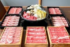 Japansk Sukiyaki upps?ttning royaltyfri foto