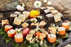 Japansk sushiuppsättning Royaltyfri Fotografi