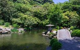 Japansk trädgård som täckas av grönt landskap Taget i den underbara trädgården Sengan-en Lokaliserat i Kagoshima, Kyushu, söder a royaltyfria bilder