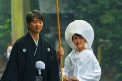 Japansk traditionell bröllopceremoni Arkivbilder