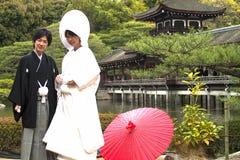 Japansk traditionell bröllopdräkt Arkivfoto