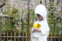 Japansk traditionell bröllopsklänning Arkivfoto