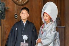 Japansk traditionell bröllopceremoni Arkivfoto