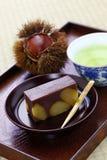 Japansk traditionell confection, yokan kurimushi arkivfoto