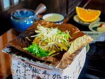 Japansk traditionell mat callled Hobamiso Arkivbilder