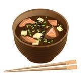 Japansk traditionell matsoppa med laxen och tofuen i bunke vektor illustrationer
