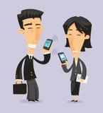 Japansk ung man och kvinna med smartphones stock illustrationer