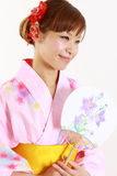 Japansk yukata med den pappers- fanen Royaltyfri Foto