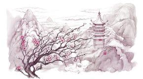 japanska berg stock illustrationer