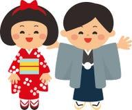 Japanska beståndsdelar för nytt år Torii port och ungar som bär kimonon Det första relikskrinbesöket av det nya året Plan design royaltyfri illustrationer